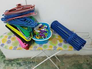 Ironing board, hangers, clips