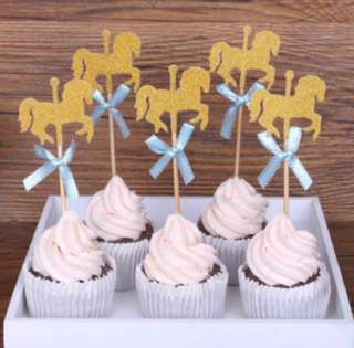 🎠 Baby Shower Carousel Horse Horses Cupcake Toppers Cake Topper Decoration Birthday Girl Boy Party
