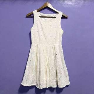 Eyelet Cream Dress