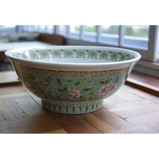 Large Ceramics Bowl , Green /Pink/Yellow