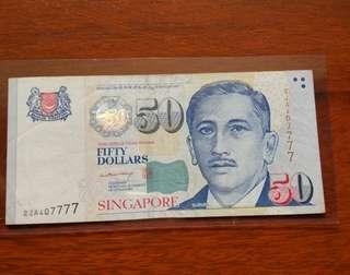 Sg $50 LHL nice 7777