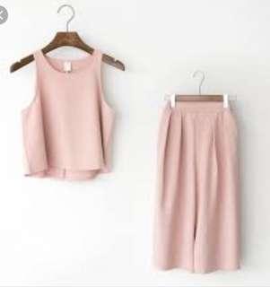 粉色雪紡寬褲套裝