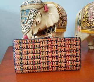 Colorful weaved long wallet