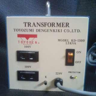 Step down transformer (1500w Japan or US voltage - user selectable Toyozumi Dengenkiki)