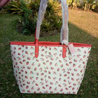 Coach reversible strawberry tote original