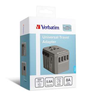 verbatim 5 ports 旅行充電器(TYPE-C + 4 USB)