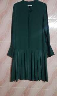 celine pleated silk button down dress