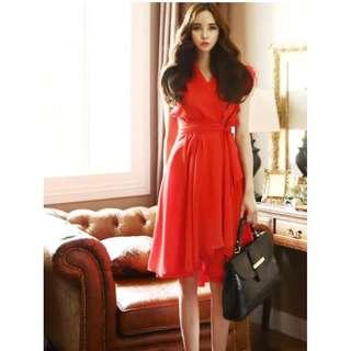 🎠 FLASH DEAL - Plus Size 4X V-Neckline Premium Layered Ribbon Stash Sexy Dolly Korean Dress