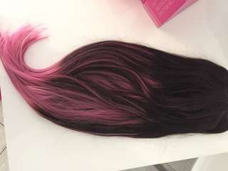Bellami hair extensions 220g pastel pink / brown 22""