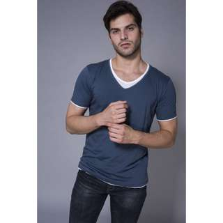 Andrew Smith Blue V-Neck Short Sleeves T-Shirt With Contrast
