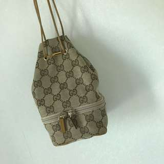 Gucci 啡色 gg logo 復古小手袋 手挽 包 vintage clutch bag