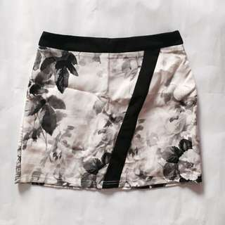 The Closet Lover Monochrome Floral Mini Skirt