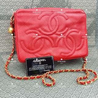 (SOLD)Chanel Vintage 紅色荔枝皮3 Logo Camera Bag