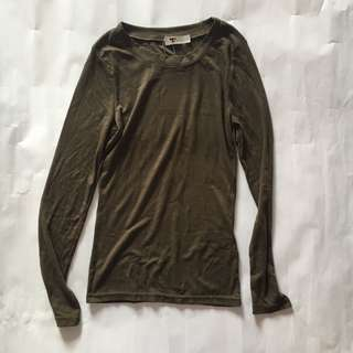 TEMT Khaki Green Long Sleeve Ribbed Top