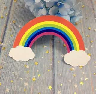 🌈 Big Rainbow Birthday Cake Topper Bunting Decoration Decor Cupcake Toppers Happy Party