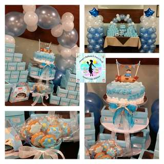 Baptismal Party Package: Fondant Cake & Cupcake Tower with Balloon Decors