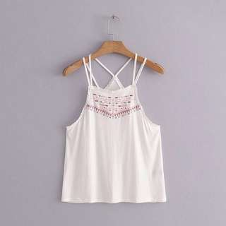 🚚 Po: white bohemian double strap camisole rainbow embroidery