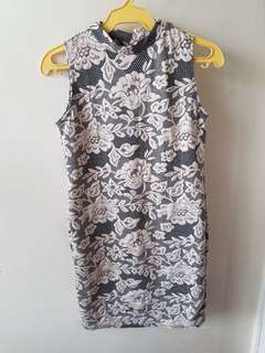 Flowered Black and Beige Dress