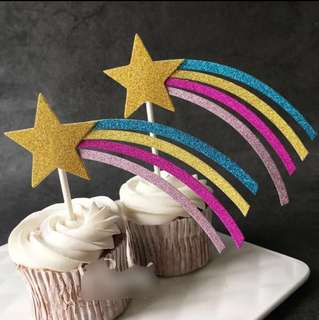 Glitter Shooting Star Rainbow Birthday Cake Cupcake Toppers Topper Decoration Happy Party Bunting