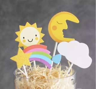 4pcs 💫 Rainbow Star Clouds Moon Sun Birthday Cake Cupcake Toppers Topper Decoration Happy Party