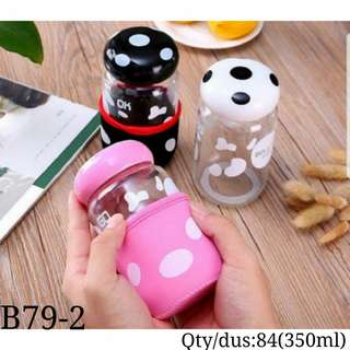Botol minum kaca jamur (Mushroom drink glass bottle)