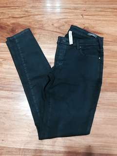 Mango Faux Leather Belle Black Skinny Jeans