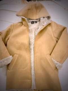 日本專櫃麂皮毛裡連帽大衣
