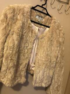 Teddy fluffy Blush Pink Cream Jacket Coat winter Forever New Size 6