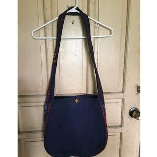 Embroidered Dark Blue Bag