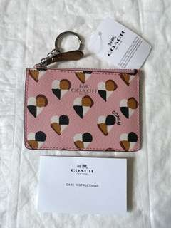 Coach Hearts Skinny Id Card/Key/Coin holder