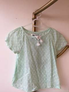 See through mint green top