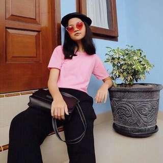 Kaos Lengan Pendek T-Shirt Tshirt Polos Wanita Katun