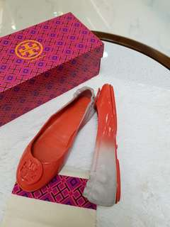 Tory Burch Minnie Travel Ballet Logo Glossy Degrade Nubuck size 7.5 ❤BIG SALE P8995 ONLY❤ In very good condition  With box & dustbag  Swipe for detailed pics