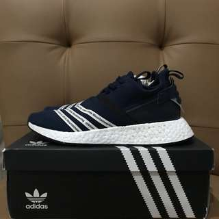 Adidas nmd r2 pk white mountaineering navy size 43 us 9.5