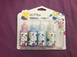 Glitter fabric paint 4x20ml