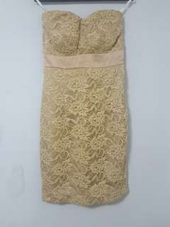 Champaigne gold tube dress (used only ONCE)