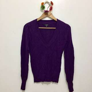 Purple V-Neck Knitted Sweater | Fits XS - M