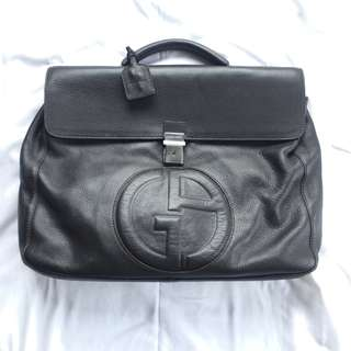 Tas giorgio armani briefcase leather Preloved very good condition holo card dust bag lengkap