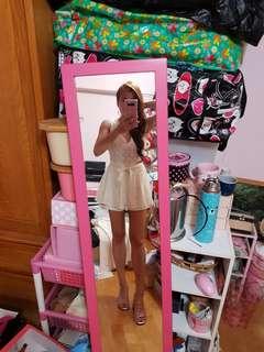 🚚 V領無袖蕾絲緞帶褲裙洋裝