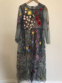 Beautiful embroidered mesh maxi