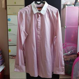 G2000 Men Shirt Slim Fit Pink Stripes