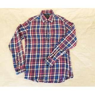 Uniqlo BF風 法蘭絨 格紋襯衫 長袖 M號 authentic shirt