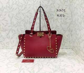Valentino Rockstuds Tote Bag Red Color
