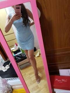🚚 水藍全蕾絲後拉鍊無袖包臀修身洋裝