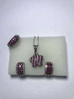 Real Diamonds and Ruby 4pc set with certificates
