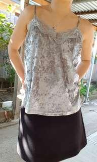 Valley girl silver velvet top