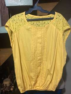 Yellow Lace Shoulder Top