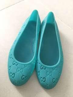 二手正品特賣 彩藍色古馳 Gucci GG logo 膠鞋 下雨必備 36號