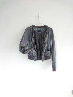 🚚 歐洲ONLY緞面飛行外套/夾克。銀灰
