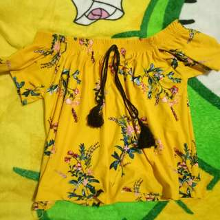 Yellow Floral Off-Shoulder Top